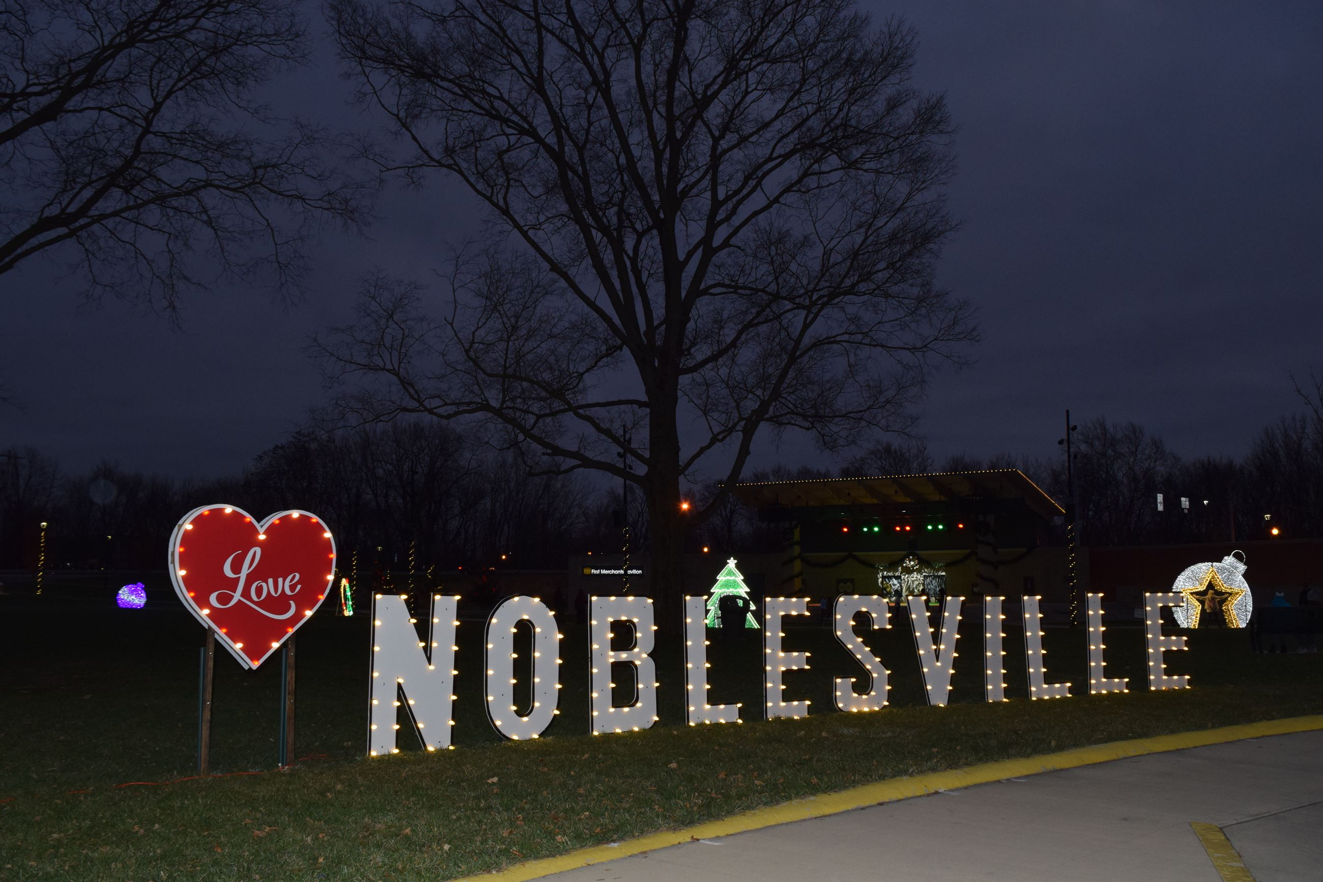 Holidays at the Hill Noblesville sign in lights